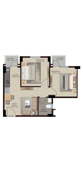 Swamanorath - 2 BHK Floor Plan - Type I