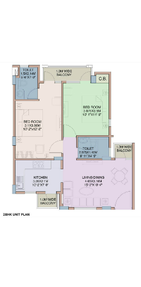 Wave-Executive-Floors-2-BHK-floor-plan-1