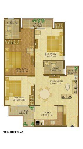 Wave-Executive-Floors-3-BHK-floor-plan-1