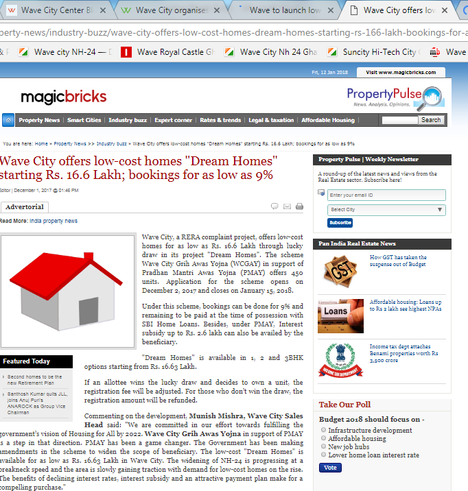 Wave City offers Dream Homes under Wave City Grih Awas Yojna