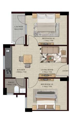 Swamanorath – 2 BHK Floor Plan – Type II