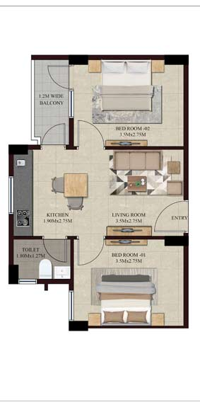 Swamanorath - 2 BHK Floor Plan - Type II